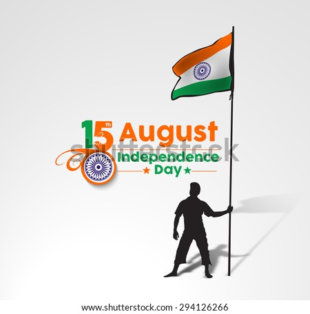 A young man holding a Indian flag with space of your text, vector illustration. - stock vector