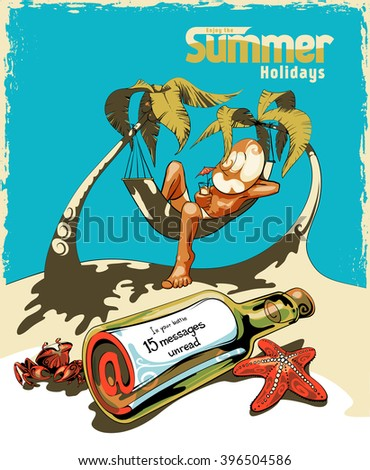 A young man on the beach relaxing and drinking cocktail under the heat of the sun with two coconut tree. Not read incoming messages. Grunge frame on a separate layer - stock vector