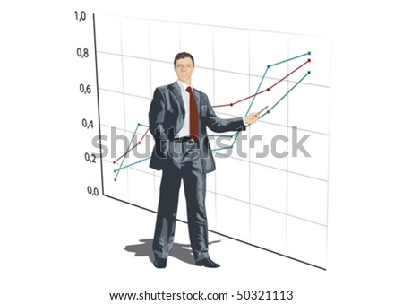 A young man shows graphics. The company is on good - stock vector