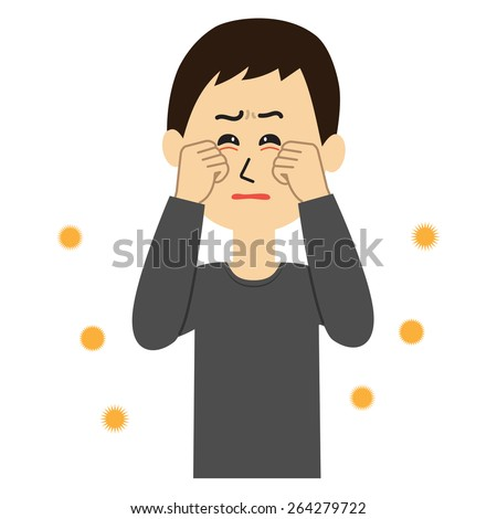 A young man with itchy eyes, allergen flowing in the air, vector illustration - stock vector
