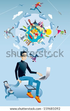 A young man working in the cloud with a laptop and a tablet. Behind him  a world globe with monuments from all continents. Four characters run and jump through the clouds while working interconnected. - stock vector