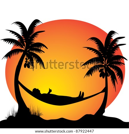 a young men relaxing on a hammock in the moonlight between two palm trees - stock vector