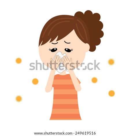 A young woman blowing nose, allergen flowing in the air, vector illustration - stock vector
