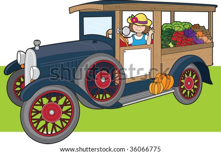 A young woman is driving a truck full of vegetables - stock vector