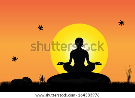 A young woman meditating peacefully on a rock in peaceful natural setting on an early morning sunrise or sunset with bright yellow sun and orange sky with maple leaves falling - concept design art - stock vector