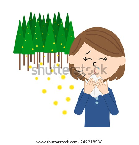 A young woman sneezing, allergy caused by cedar pollen, vector illustration - stock vector