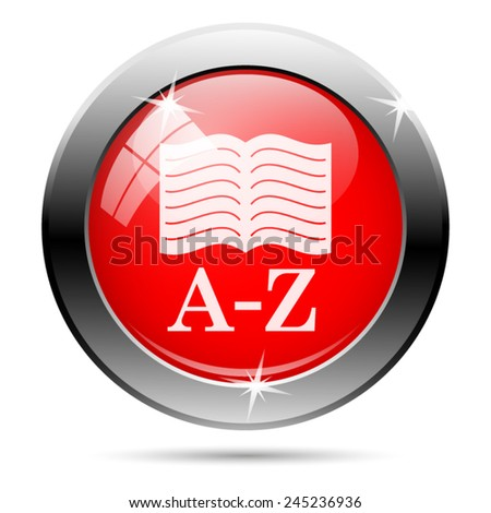 A-Z book icon. Internet button on white background.  - stock vector