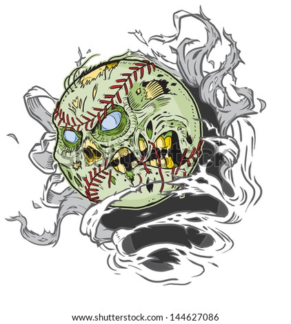 A Zombie Baseball Ripping out of the Background! All Important elements are in separate layers in the .eps file for easy customization! - stock vector