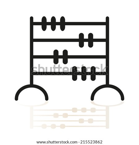 Abacus icon with shadow, isolated black on white background, abstract vector symbol - stock vector