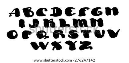 Abc alphabet Hand drawn watercolor calligraphy letters vector illustration