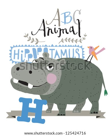 ABC animals: H is for hippopotamus. Vector Graphics - stock vector