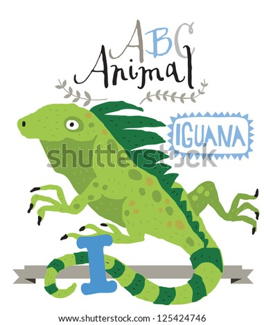 ABC animals: I is for iguana. Vector Graphics - stock vector