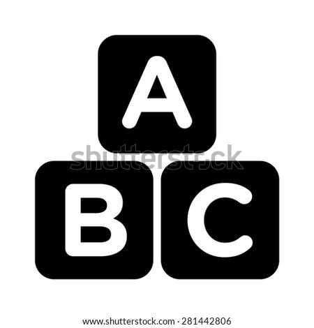 ABC blocks / ABC cubes child education flat icon for apps and websites - stock vector