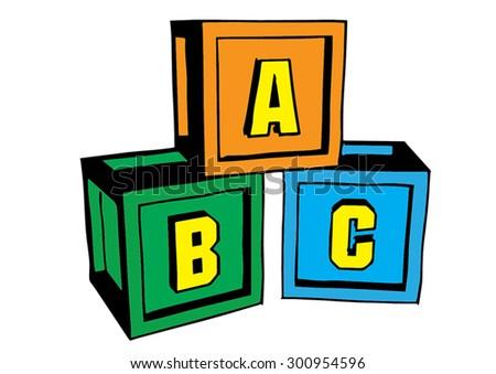 Abc blocks doodle style blocks put stock vector 300680342 shutterstock - Putting together stylish kitchen abcs ...