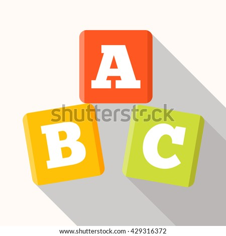 ABC blocks flat icon with long shadow. Alphabet cubes with A,B,C letters in flat. - stock vector