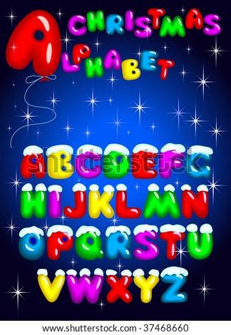 ABC. Christmas varicolored alphabet. - stock vector