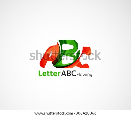 Abc company logo. Vector illustration. Made of overlapping wave elements, abstract composition. Font business icon concept - stock vector