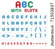 ABC font from font with slots. Roman alphabet (A, B, C, D, E, F, G, H, I, J, K, L, M, N, O, P, Q, R, S, T, U, V, W, X, Y, Z) and Arabic numerals (0, 1, 2, 3, 4, 5, 6, 7, 8, 9). - stock vector