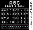 ABC gray font from paper tape. Roman alphabet (A, B, C, D, E, F, G, H, I, J, K, L, M, N, O, P, Q, R, S, T, U, V, W, X, Y, Z) and Arabic numerals (0, 1, 2, 3, 4, 5, 6, 7, 8, 9). - stock vector