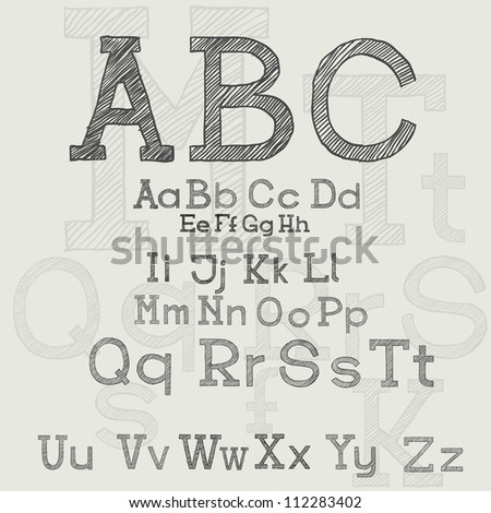 ABC, hand-drawn - stock vector