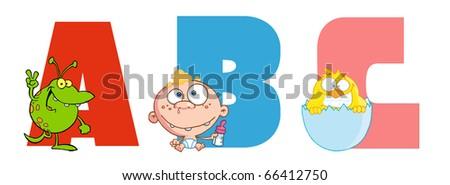 ABC Joyful Cartoon Alphabet - stock vector