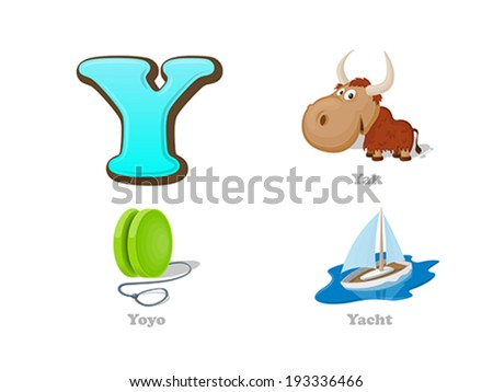 ABC letter Y funny kid icons set: yak, yo-yo, yacht.  Alphabet children education collection. - stock vector