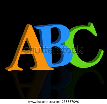 ABC letters on white background 3D - stock vector