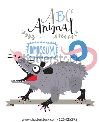 ABC Opossum - stock vector