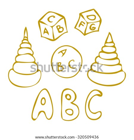 ABC toys cube, ball and pyramid doodle set. - stock vector