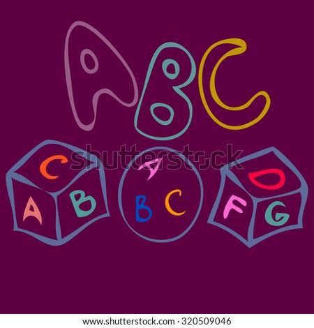 ABC toys cube doodle set. - stock vector