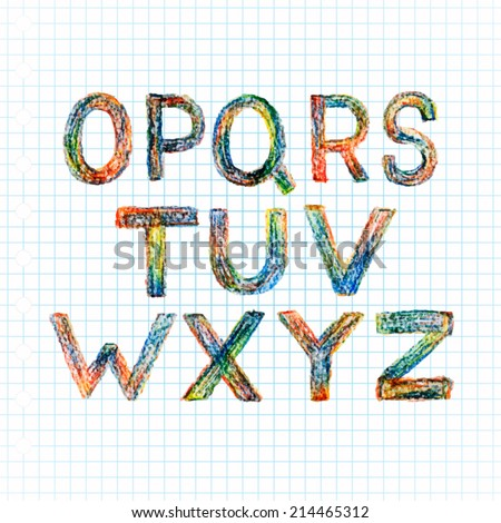 abc. vector letters set. hand drawn with colorful crayons. - stock vector