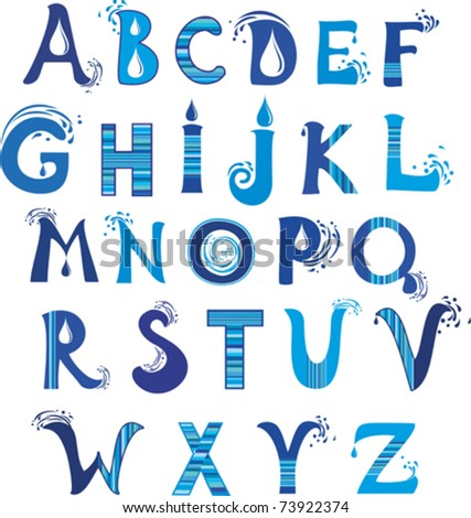 abc. Water alphabet. vector. - stock vector