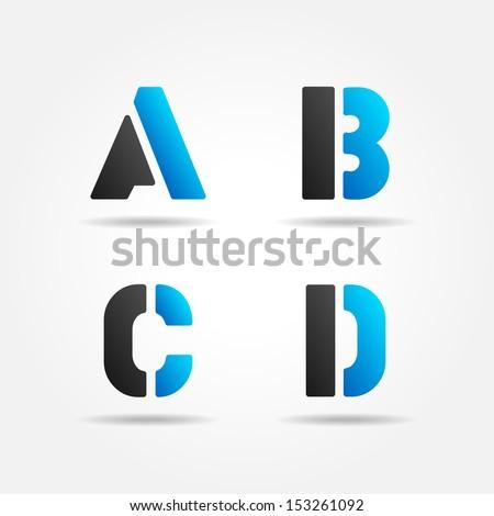 ABCD blue - stock vector