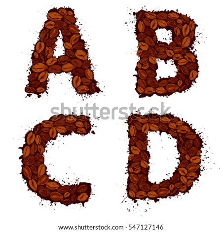 Efgh English Alphabet Letters Made Coffee Stock Vector