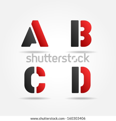 abcd red stencil letters - stock vector