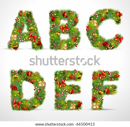 ABCDEF, vector christmas tree font - stock vector