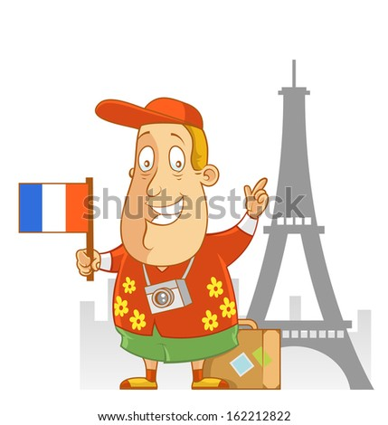 Abe The Tourist - Travel to France - stock vector