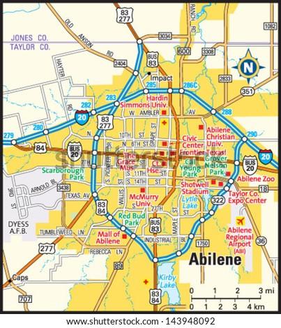 Abilene Texas Area Map Stock Vector 2018 143948092 Shutterstock