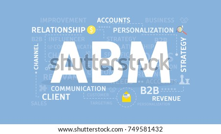 abm concept illustration account based marketing stock vector