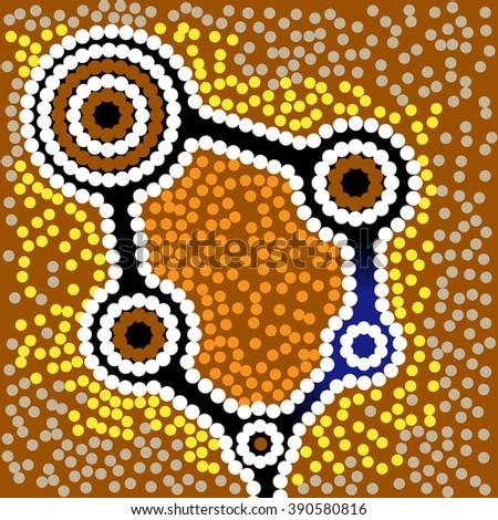 Aboriginal art vector background - stock vector