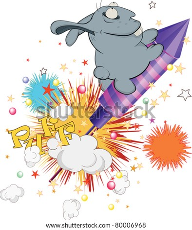 About a blue rabbit, a cracker and day of a birth. Cartoon - stock vector