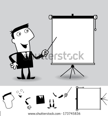 About us. Business cartoon illustration (EPS 8). Animation friendly: the elements ( arms, heads etc) are in the separate layers. - stock vector