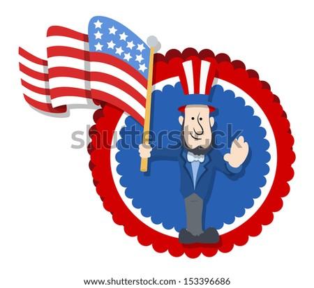 Abraham Lincoln Floating America's Flag - Cartoon Vector Illustration - stock vector