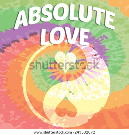 Absolute Love sign Mandala - Hippie style - stock vector