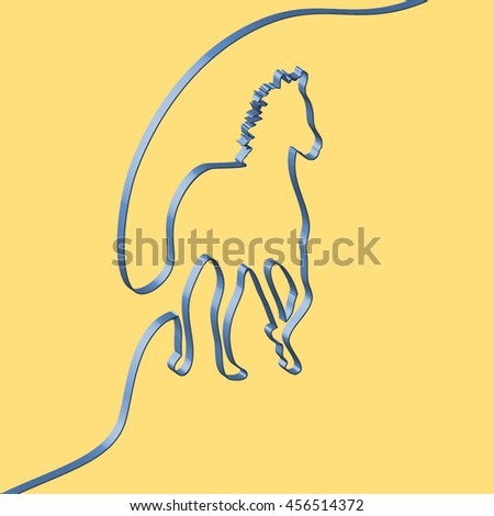 Abstact ribbon forms a horse, vector illustration - stock vector