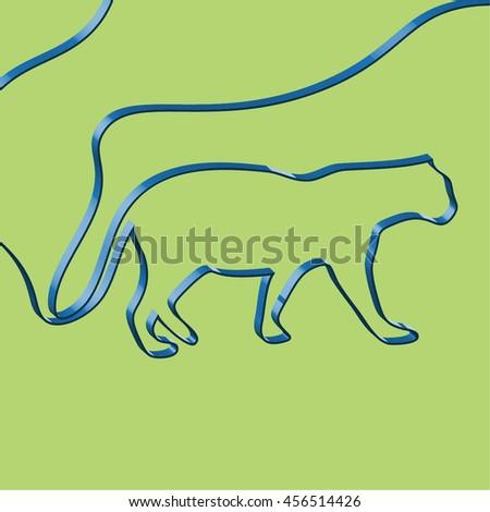 Abstact ribbon forms a tiger, vector illustration - stock vector
