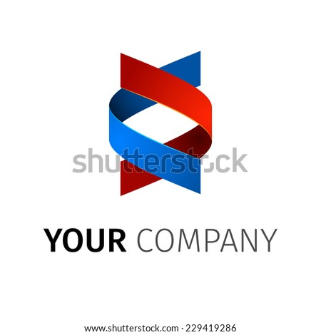 Abstact ribbon Logo template.Corporate icon such as logotype. - stock vector