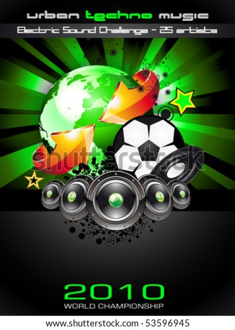 Abstrac World Football ChampionShip Disco Party Flyer Background - stock vector