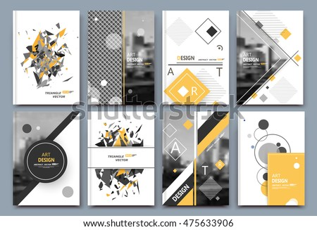 Abstract a4 brochure cover design. Text frame surface. Urban city view font. Title sheet model. Creative vector front page. Brand logo ad banner texture. Yellow round, square figure icon. Flyer fiber