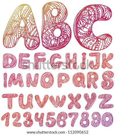 abstract ABC set  letters Hand drawn vector